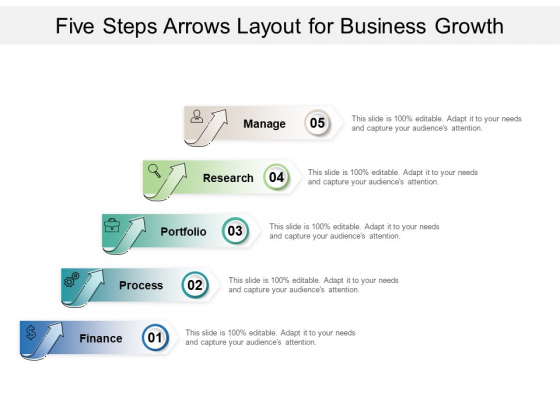 Five Steps Arrows Layout For Business Growth Ppt PowerPoint Presentation Summary Infographics PDF