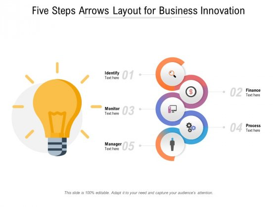 Five Steps Arrows Layout For Business Innovation Ppt PowerPoint Presentation Layouts Slide Download PDF