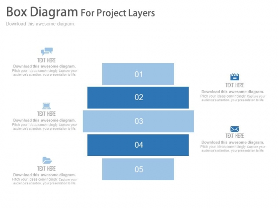 Five Steps Box Diagram For Information Display Powerpoint Template