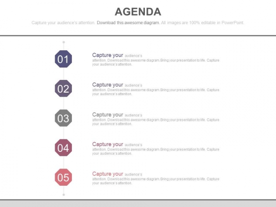 Five Steps Business Agenda Chart Powerpoint Slides