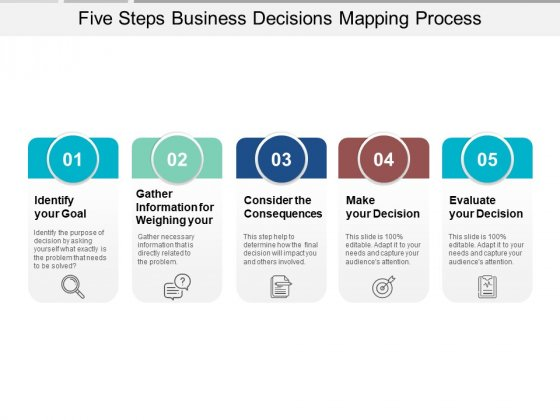 Five Steps Business Decisions Mapping Process Ppt PowerPoint Presentation Infographics Outfit