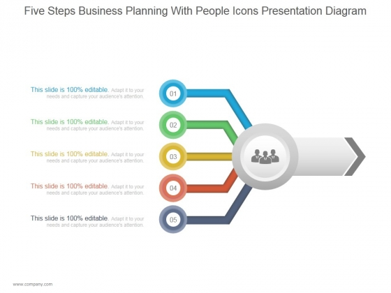 Five Steps Business Planning With People Icons Ppt PowerPoint Presentation Infographic Template