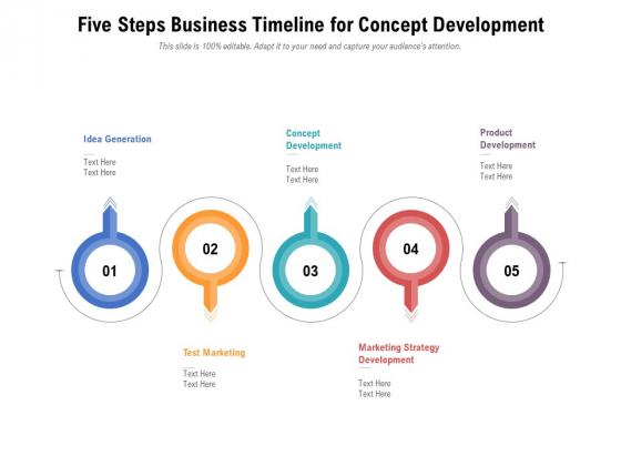 Five Steps Business Timeline For Concept Development Ppt PowerPoint Presentation File Shapes PDF