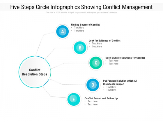 Five Steps Circle Infographics Showing Conflict Management Ppt PowerPoint Presentation File Visuals PDF