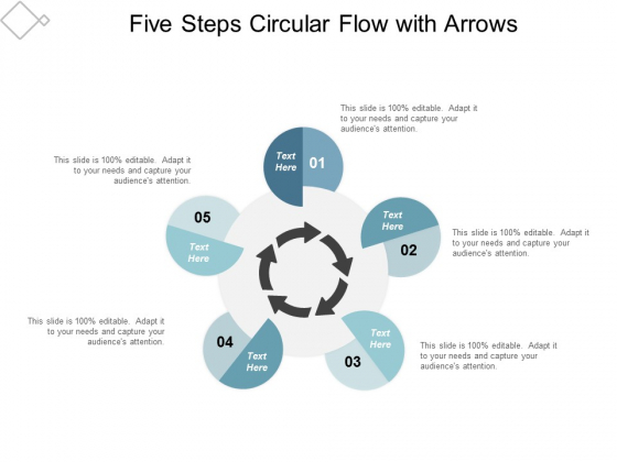 Five Steps Circular Flow With Arrows Ppt Powerpoint Presentation File Design Ideas