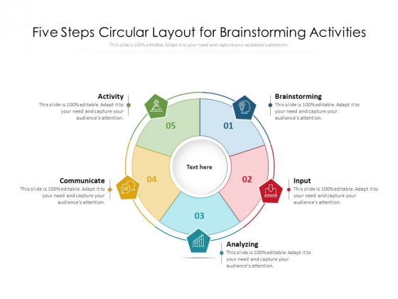 Five Steps Circular Layout For Brainstorming Activities Ppt PowerPoint Presentation File Files PDF