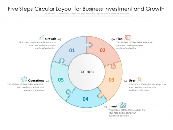 Five Steps Circular Layout For Business Investment And Growth Ppt PowerPoint Presentation File Example File PDF