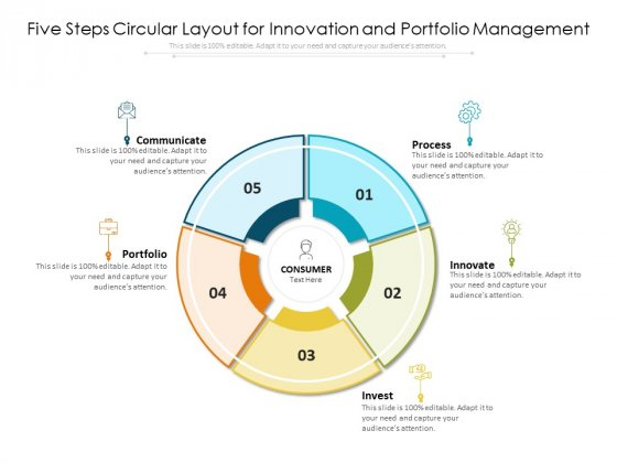 Five Steps Circular Layout For Innovation And Portfolio Management Ppt PowerPoint Presentation File Model PDF