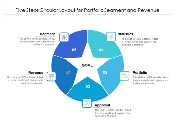 Five Steps Circular Layout For Portfolio Segment And Revenue Ppt PowerPoint Presentation File Background Designs PDF