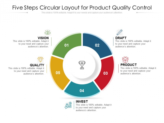 Five Steps Circular Layout For Product Quality Control Ppt PowerPoint Presentation Gallery Icon PDF
