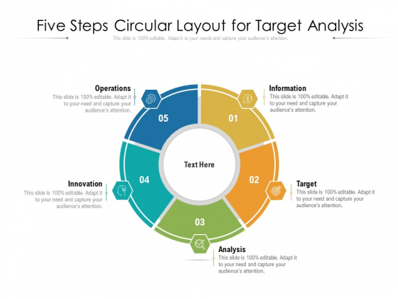 Five Steps Circular Layout For Target Analysis Ppt PowerPoint Presentation File Show PDF