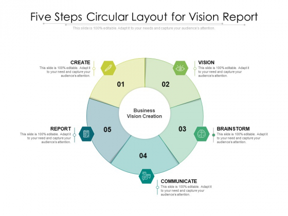Five Steps Circular Layout For Vision Report Ppt PowerPoint Presentation Gallery Show PDF
