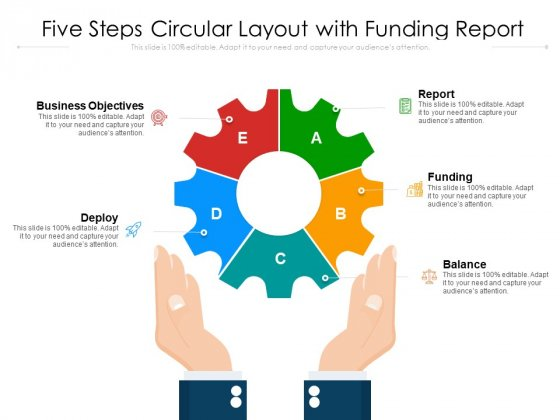 Five Steps Circular Layout With Funding Report Ppt PowerPoint Presentation File Example Introduction PDF