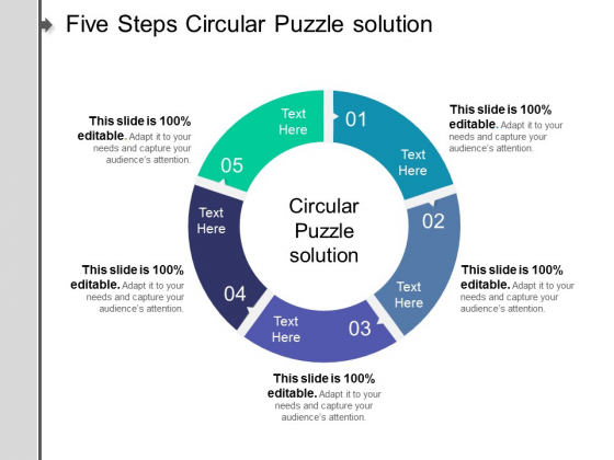 Five Steps Circular Puzzle Solution Ppt PowerPoint Presentation Show Professional