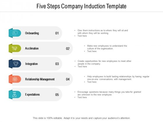 Five Steps Company Induction Template Ppt PowerPoint Presentation Inspiration Template