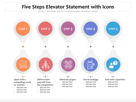 Five Steps Elevator Statement With Icons Ppt PowerPoint Presentation Gallery Format PDF