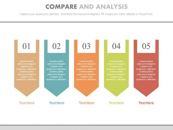five steps for data compare and analysis powerpoint template, Modern powerpoint