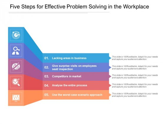 Five Steps For Effective Problem Solving In The Workplace Ppt Powerpoint Presentation Inspiration Template