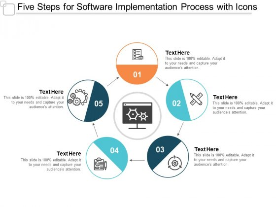 Five Steps For Software Implementation Process With Icons Ppt PowerPoint Presentation Model Visual Aids