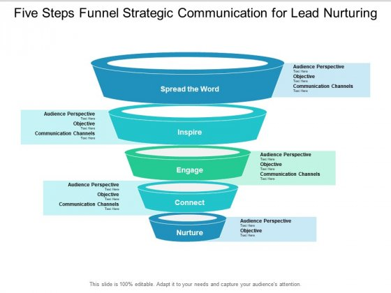 Five Steps Funnel Strategic Communication For Lead Nurturing Ppt PowerPoint Presentation Portfolio Graphics Design