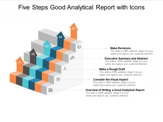 Five Steps Good Analytical Report With Icons Ppt PowerPoint Presentation Professional Graphic Images
