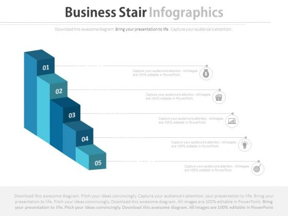 Five Steps Growth Bar Graph Powerpoint Template