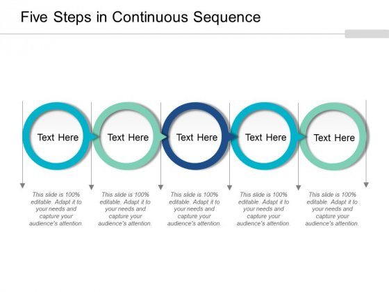 Five Steps In Continuous Sequence Ppt PowerPoint Presentation Summary Example