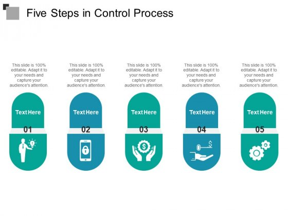 Five Steps In Control Process Ppt PowerPoint Presentation Inspiration Master Slide