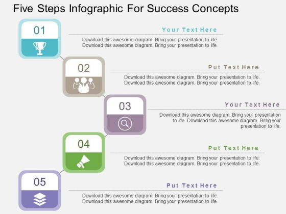 Five Steps Infographic For Success Concepts Powerpoint Templates