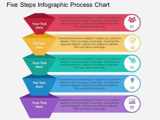 Five Steps Infographic Process Chart Powerpoint Template