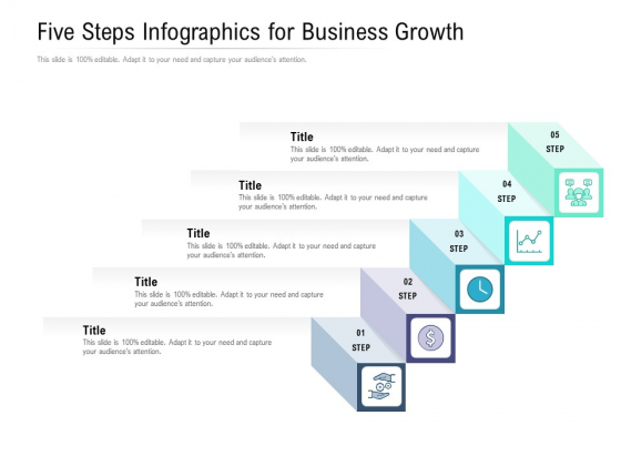 Five Steps Infographics For Business Growth Ppt PowerPoint Presentation Inspiration Shapes