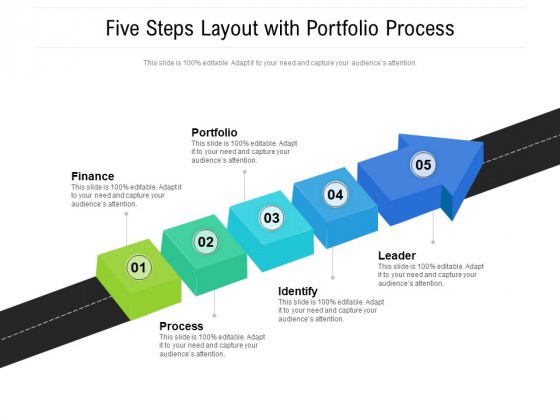 Five Steps Layout With Portfolio Process Ppt PowerPoint Presentation Outline Rules PDF