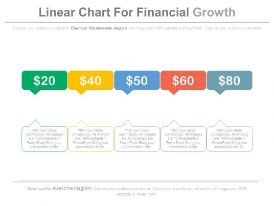 Five Steps Linear Chart For Financial Growth Powerpoint Slides