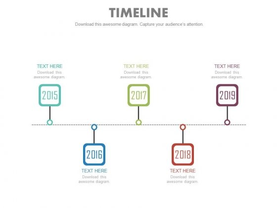 Five Steps Linear Timeline For Sales Planning Powerpoint Slides