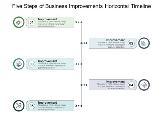 Five Steps Of Business Improvements Horizontal Timeline Ppt PowerPoint Presentation Pictures Graphics Template