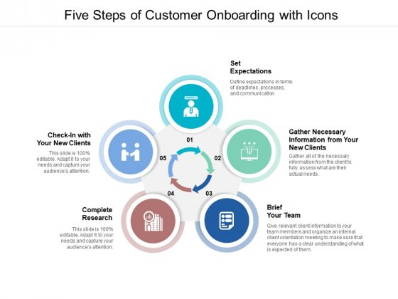 Five Steps Of Customer Onboarding With Icons Ppt PowerPoint Presentation Inspiration Design Inspiration