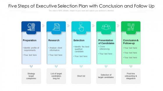 Five Steps Of Executive Selection Plan With Conclusion And Follow Up Ppt Outline Influencers PDF