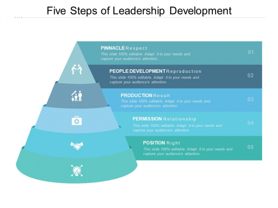Five Steps Of Leadership Development Ppt PowerPoint Presentation Portfolio Background Designs