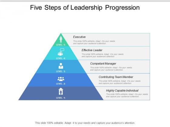 Five Steps Of Leadership Progression Ppt PowerPoint Presentation Show Slides