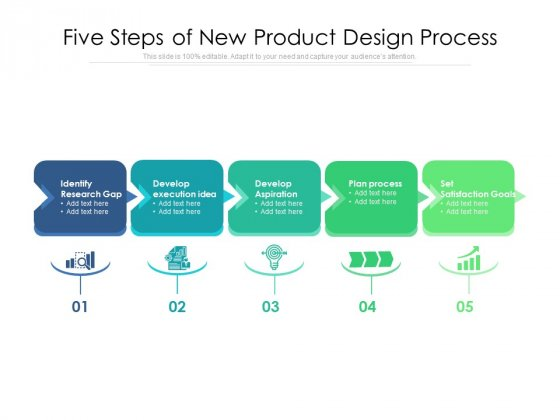 Five Steps Of New Product Design Process Ppt PowerPoint Presentation Gallery Graphics PDF