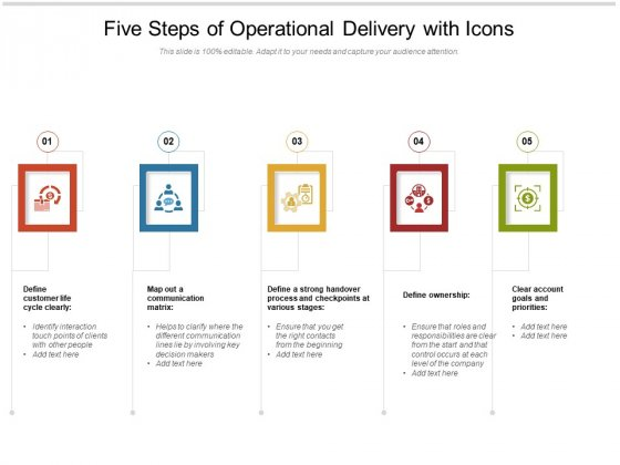 Five_Steps_Of_Operational_Delivery_With_Icons_Ppt_PowerPoint_Presentation_Gallery_Ideas_PDF_Slide_1