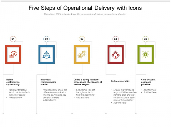 Five Steps Of Operational Delivery With Icons Ppt PowerPoint Presentation Gallery Ideas PDF