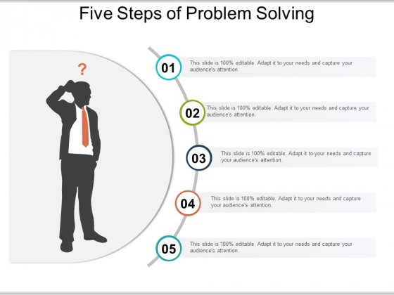 Five Steps Of Problem Solving Ppt PowerPoint Presentation Icon