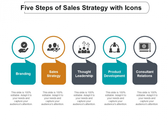 Five Steps Of Sales Strategy With Icons Ppt Powerpoint Presentation Infographics