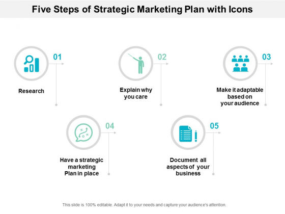 Five Steps Of Strategic Marketing Plan With Icons Ppt Powerpoint Presentation Icon Clipart