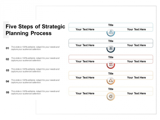 Five Steps Of Strategic Planning Process Ppt PowerPoint Presentation Layouts Graphics Example