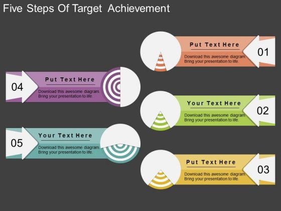 five steps of target achievement powerpoint template - powerpoint, Achievement Presentation Template, Presentation templates