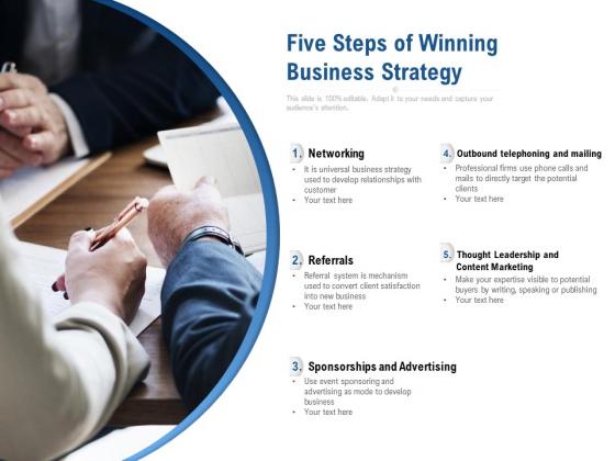 Five Steps Of Winning Business Strategy Ppt PowerPoint Presentation File Smartart PDF