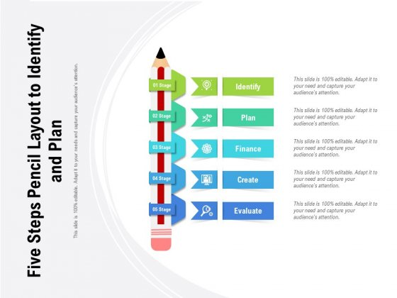 Five Steps Pencil Layout To Identify And Plan Ppt PowerPoint Presentation Styles Deck PDF