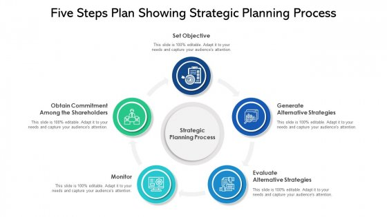 Five Steps Plan Showing Strategic Planning Process Ppt PowerPoint Presentation File Influencers PDF